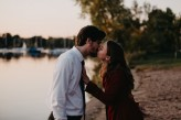Fall engagement photos by lake